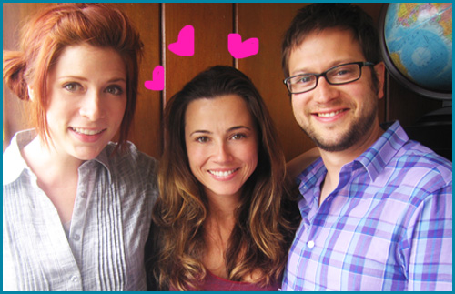 Linda Cardellini and hosts Vanessa Ragland and Cole Stratton on Pop My Culture