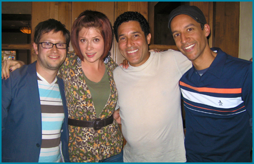 Oscar Nunez and Danny Pudi with hosts Vanessa Ragland and Cole Stratton