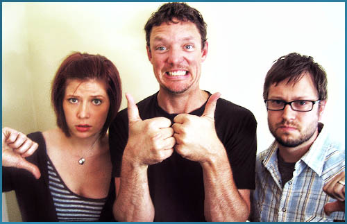 Matthew Lillard and hosts Vanessa Ragland and Cole Stratton