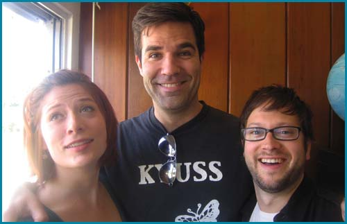 Hosts Vanessa Ragland and Cole Stratton with guest Rob Delaney