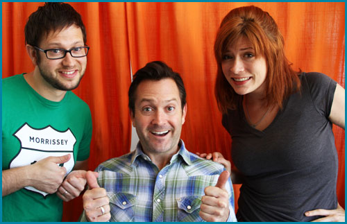 Thomas Lennon and hosts Cole Stratton and Vanessa Ragland