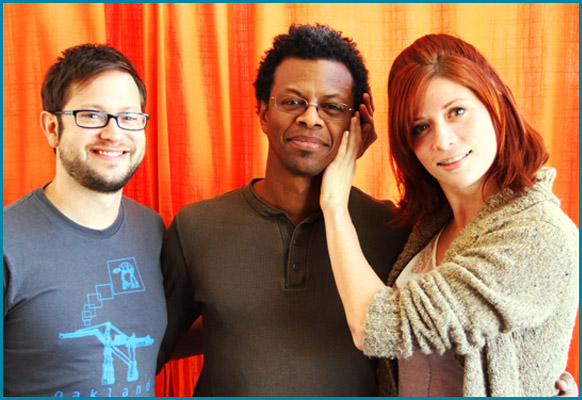 Phil LaMarr with hosts Cole Stratton and Vanessa Ragland