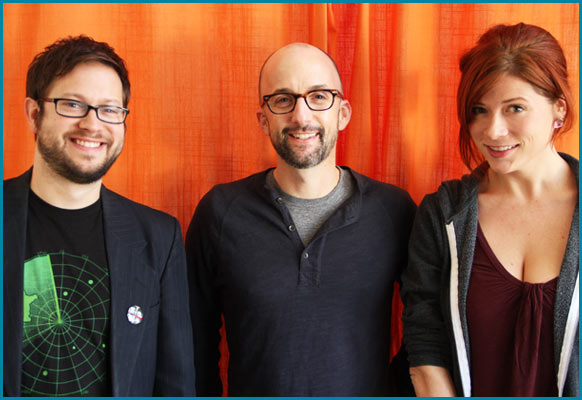 Jim Rash with hosts Vanessa Ragland and Cole Stratton