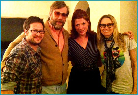 Aimee Mann and John Roderick with hosts Cole Stratton and Vanessa Ragland