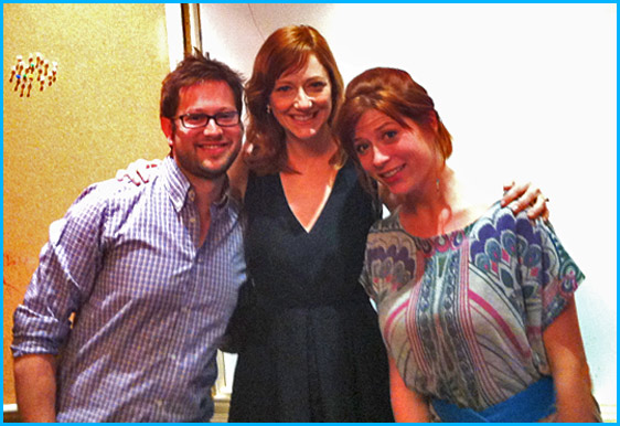Judy Greer with hosts Cole Stratton and Vanessa Ragland