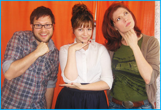 Amber Tamblyn with hosts Vanessa Ragland and Cole Stratton