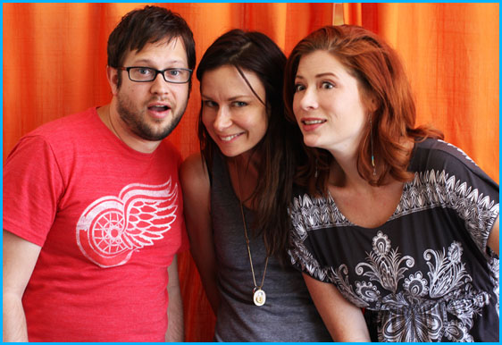 Mary Lynn Rajskub and hosts Cole Stratton and Vanessa Ragland