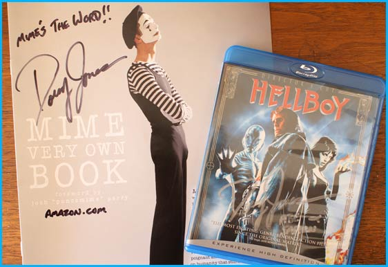 Doug Jones signed Hellboy blu ray and his Mime own book