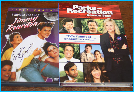Parks and Recreation DVD signed and a night in the life of jimmy reardon signed