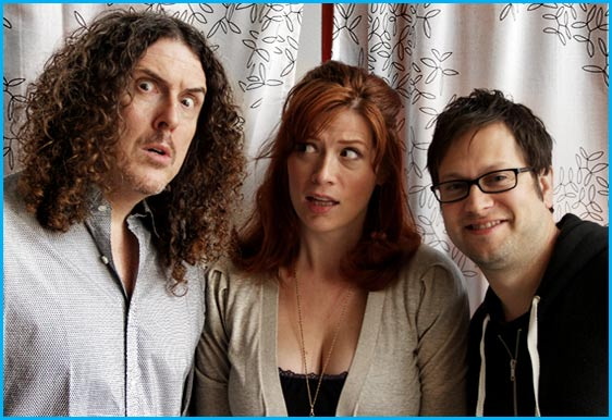 Weird Al Yankovic with hosts Vanessa Ragland and Cole Stratton for Pop My Culture Podcast episode 100