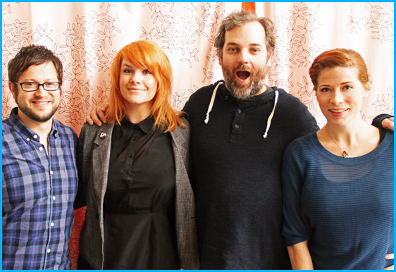 Dan Harmon and Erin McGathy with hosts Cole Stratton and Vanessa Ragland