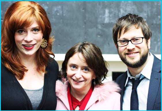 Rachel Dratch with hosts Vanessa Ragland and Cole Stratton