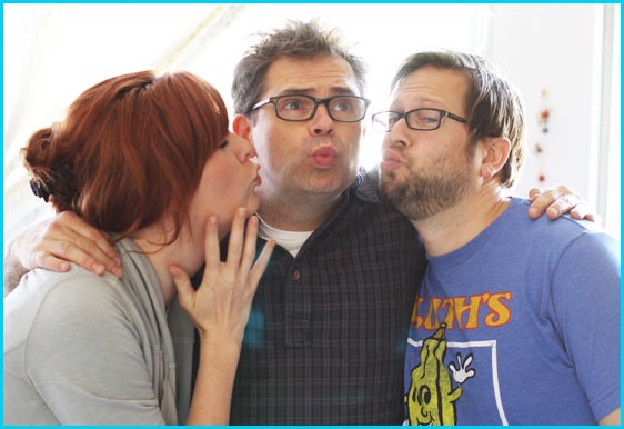Dana Gould with hosts Cole Stratton and Vanessa Ragland