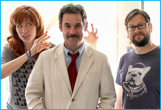 Paul F. Tompkins with hosts Vanessa Ragland and Cole Stratton