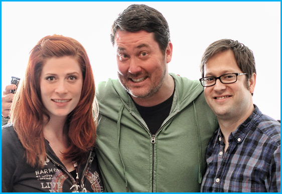Hosts Vanessa Ragland and Cole Stratton with Doug Benson