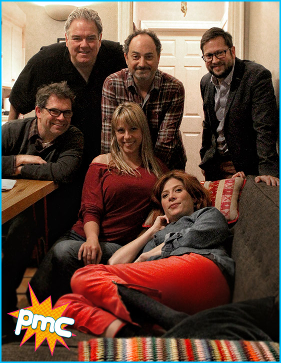 Dana Gould, Jodie Sweetin, Kevin Pollak and Jim O'Heir with hosts Cole Stratton and Vanessa Ragland (on bed rest)