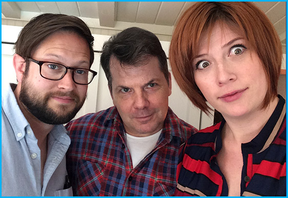 Bruce McCulloch with hosts Cole Stratton and Vanessa Ragland