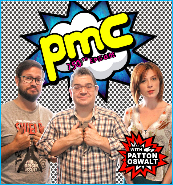 Patton Oswalt with hosts Cole Stratton and Vanessa Ragland
