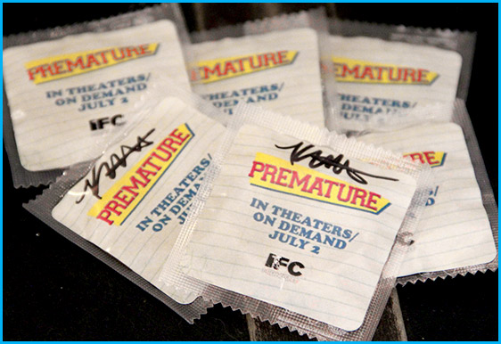 Condoms signed by Katie Findlay for movie premature