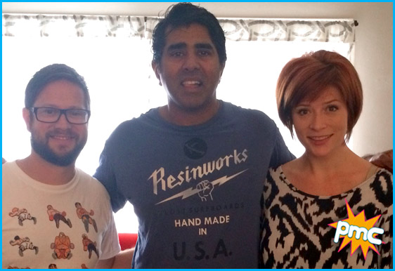 Jay Chandrasekhar with hosts Cole Stratton and Vanessa Ragland