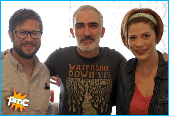 Patrick Fischler with hosts Cole Stratton and Vanessa Ragland