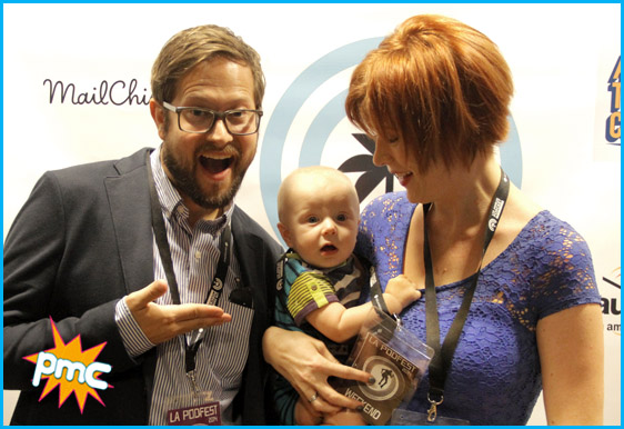 Hosts Vanessa Ragland and Cole Stratton with little Oliver at the LA Podfest!