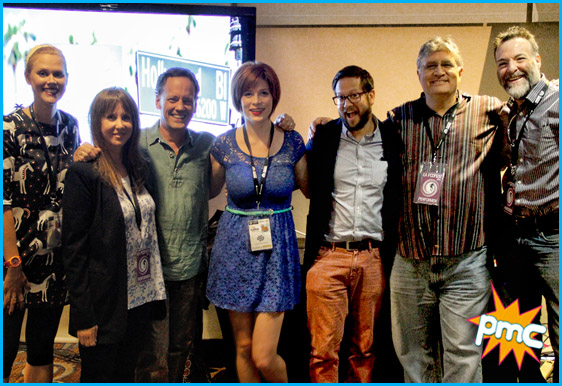 Hosts Cole Stratton and Vanessa Ragland with  Dee Bradley Baker, Richard Morvitz, Laraine Newman, Janet Varney and Maurice LaMarche
