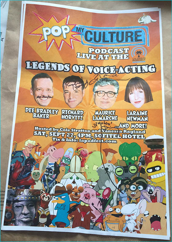 Voice over legends signed poster for Pop My Culture podcast giveaway