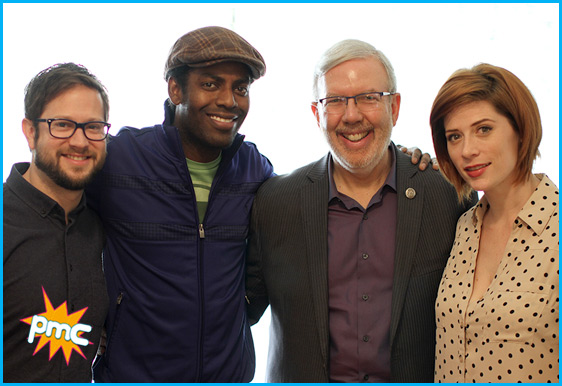Leonard Maltin and Baron Vaughn with hosts Cole Stratton and Vanessa Ragland