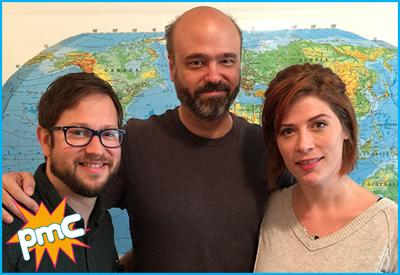 Scott Adsit with hosts cole stratton and Vanessa Ragland