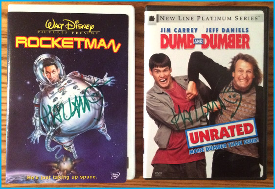 Signed Rocketman dvd and Dumb and Dumber by Harland Williams
