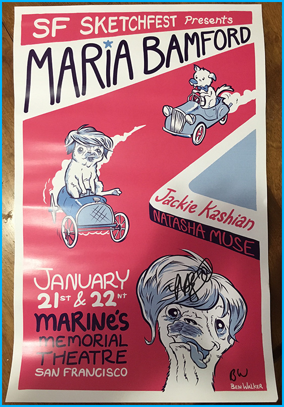 Maria Bamford signed Tour poster by Ben Walker-Storey