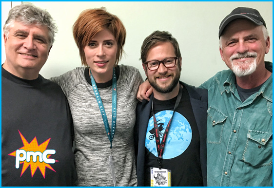 Maurice LaMarche and Rob Paulsen with hosts Vanessa Ragland and Cole Stratton