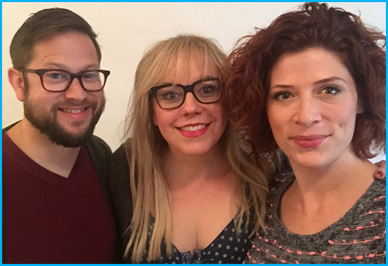 Kirsten Vangsness with hosts Cole Stratton and Vanessa Ragland